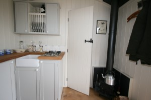 Woodburner in shepherds hut