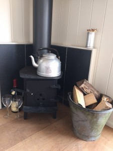 Woodburner in the shepherds hut